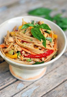 Spicy Peanut Chicken Salad - Pinch of Yum - The dressing is SO good! I used it in a hot stir fry too. Ginger is pretty overpowering so I only put in half the amount on the recipe.