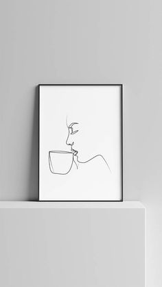 Minimal A4 Woman Drinking Coffee Art One Line Art Modern