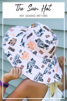 Hat Patterns To Sew, Sewing Patterns Free, Free Sewing, Free Pattern, Print Patterns, Bag Patterns, Clothes Patterns, Sun Hats For Women, Sewing Projects