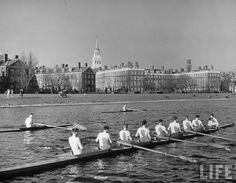 "vintagesportspictures: "" Rowing on the Charles River across from Harvard…"