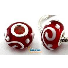 Pandora Rojo Blanco 14mm(Un)