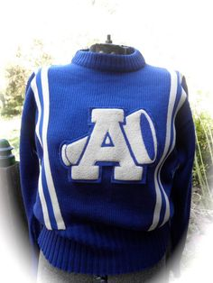 SOLD! Vintage 1960s Blue and White Cheerleader Sweater by JackpotJen, $45.00
