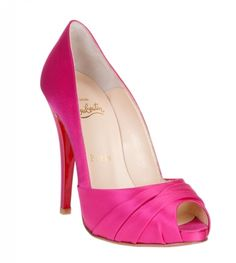 Fuchsia satin peep-toe pump and red soles from Christian Louboutin