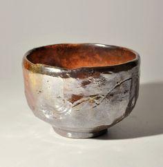 """Rare Japanese Antique Rokuroku Metallic-glazed Red Raku tea bowl Akaraku chawan"", via ebay. $350."