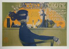 Manuel Orazi Premium Thick-Wrap Canvas Wall Art Print entitled La Maison Moderne, (poster), None Retro Poster, Poster Art, Poster Prints, Art Posters, Type Posters, Vintage French Posters, Vintage Art, French Vintage, Vintage Vogue