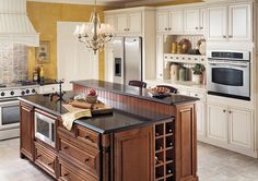 KraftMaid Traditional Kitchen in White and Brown