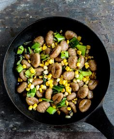 pan toasted brown butter gnocchi with grilled corn and scallions