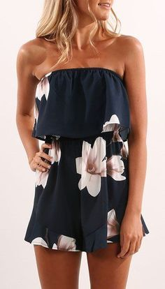 #spring #outfits Navy Floral Off The Shoulder Romper