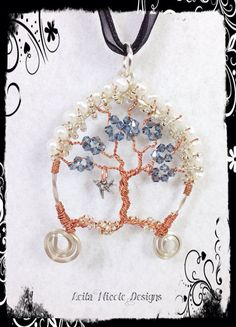 Hand Made Tree of Life Pendant Wire Wrapped Copper & Sterling Silver with Bird OOAK - T9 on Etsy, $40.00