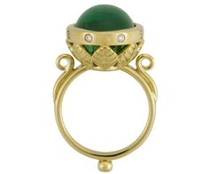 18K Arcadia Ring with Emerald and Diamonds - Temple St. Clair