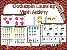 Clothespin Counting Math Activity for Kindergarten; Preschool; Pre-K; Autism; Special Education; Homeschool; Centers
