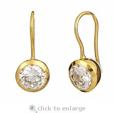 Ziamond Cubic Zirconia 1.5 Carat Round Bezel Drop Earrings In 14K Yellow Gold.  The Manhattan Drops are also available with a 2.5 carat round center stone.  Perfect for everyday wear!  $695 #ziamond #cubiczirconia #cz #earrings #drops #shepherdhooks #14kgold #diamond #jewelry