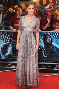 One of my favorite red carpet looks, Emma Watson in Ossie Clark at the premiere of Harry Potter and the Half Blood Prince in London