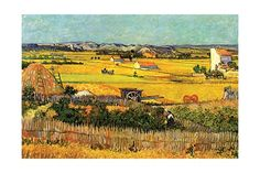 Harvest at La Crau with Montmajour in the Background Giclee Print at AllPosters.com
