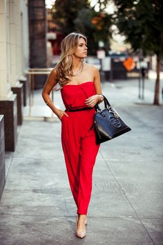 Look flawless this Valentine's Day in a red hot jumpsuit.
