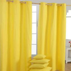 These sunny yellow curtains are a must have interior accessory this summer and will look stunning in any contemporary room. The bright colour of these curtains is sure to add a fun flair to any room. These chic Plain Cotton Yellow Eyelet Curtains are made Yellow Eyelet Curtains, Yellow Kitchen Curtains, Ready Made Eyelet Curtains, Bright Curtains, Modern Curtains, Colorful Curtains, Yellow Cushions, Floor Cushions, Pottery Barn Teen Bedding