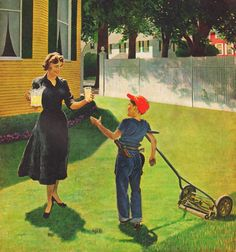 Lemonade for the Lawnmower, art by George Hughes.  Detail from Saturday Evening Post cover May 14, 1955