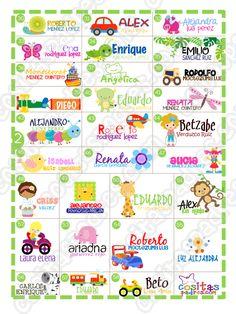 INCREÍBLES DISEÑOS PARA TUS ETIQUETAS ESCOLARES, PUEDEN SER EN PAPEL ADHESIVO PARA ÚTILES, PARA ROPA O EN VINIL LAVABLE PARA TRASTECITOS... Name Stickers, Back To School, Names, Printables, Education, Baby, Crafts, Sticker Paper, Letterhead