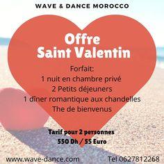Saint Valentin 2021 Vivez un week-end romantique à Taghazout Bay! Forfait: ❤️ 1 nuit en chambre privé ❤️ 2 Petits déjeuners ❤️ 1 dîner romantique aux chandelles ❤️ Accueil avec the de bienvenus Tarif de 550 MAD / 55 € pour 2 personnes Nuits supplémentaires sur demande Info et Resa Wave & Dance Morocco Tel 0627812268 / 0660259901 www.wave-dance.com Surf House, Week End Romantique, Wave Dance, Stage, Yoga Retreat, Info, Morocco, Surfing, Waves