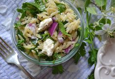 Orzo Salad with Spinach, Feta & Lemon