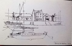 The harbour Aberaeron.... A 10 minute line sketch in my Moleskine | Flickr - Photo Sharing!