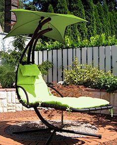 Awesome Leco Schwingliege Gartenliege in gr n Liege Sonnensegel Sonnenliege Garten http