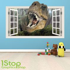 D Dinosaurs Through The Wall Stickers Jurassic Park Home - 3d dinosaur wall decals