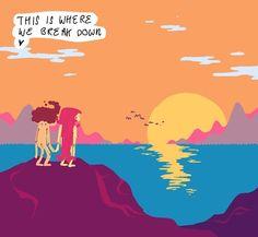 where we break down #ocean #sea #sun #sundown #stare #nude #hairdo #fashion #monster #clouds #nature #daydream #birds #wildlife #emotion #life #love #leisure #health #pleasure #barcelona #art #illustration #graphicdesign #design #fineart by mcalmonds