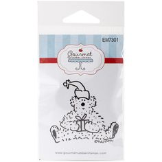 Gourmet Rubber Stamps - Holiday Bear With Gift