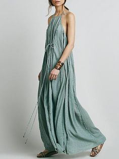 6abd454cc70 Simple Striped Spaghetti-neck Maxi Dress Smart Dress