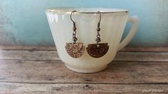 Handmade from recycled copper these lovely bohemian earrings are layered with 3 half round pieces and etched with delicate patterns. Earring dangles approximately 1 inch in length. Copper Jewelry, Diy Jewelry, Jewelry Design, Dangle Earrings, Dangles, Delicate, Bohemian, Patterns, Metal