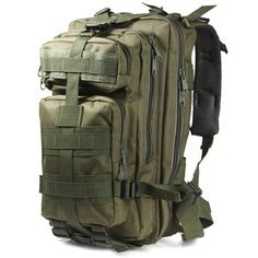 Toss a jacket, water, and some gear into the high intensity build and the durable nylon fabric of this military rucksack, before you head out on your next day hike or camping trip. A grab-able cinch at the top, coupled with front storage zip compartments, ensures that handy stuff like a fresh pair of socks, are easy to grab without unloading your entire backpack in the middle of the trail. Padded and adjustable shoulder straps as well as the breathable mesh backing, allow for maximum…