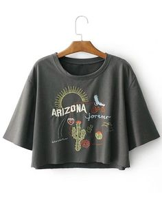 Drop Shoulder Letter Cacti Patched Tee - GRAY M
