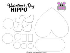 See this post for a FREE printable template to make your own Valentine's Day Hippo! This simple DIY Hippo Valentine's Day card is an easy craft for toddlers, big kids and adults to make. Great for classroom Valentine's Day art projects. Arts And Crafts For Adults, Valentine's Day Crafts For Kids, Valentine Crafts For Kids, Valentines Day Activities, Valentine Day Crafts, Homemade Valentines, Valentine Box, Valentine Wreath, Valentine Ideas