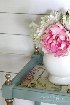 Thrifty Makeover with French Fabric Decoupage - Artsy Chicks Rule® Decoupage Furniture, Recycled Furniture, Paint Furniture, Shabby Chic Furniture, Furniture Makeover, Cool Furniture, Distressed Furniture, Kitchen Furniture, Sanding Furniture
