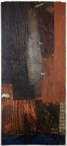 D-5.Jun.1989 / mixed media painting on wood 97x41x3cm HAYASHI Takahiko 林孝彦