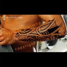 Layered Maori tattoo with Polynesian symbols and patterns #polynesiantattoosshoulder