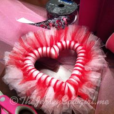 Valentines crafts in progress! #tulle #heart