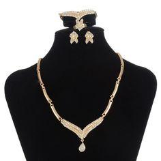 Dubai 18K Gold Plated Sets Nigerian Wedding African Beads Crystal Bridal Set Rhinestone Ethiopian