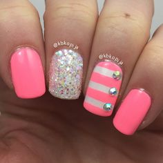 """ Pink Nails - I used @tammytaylornails Rainbow Rhinestones and Shimmering Stars white glitter #tammytaylornails @whatsupnails Straight Vinyls for…"""