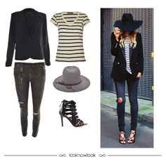 Get the Look: Blazer + T-shirt Listrada + Calça Skinny Destroyed + Chapéu + Sandália de Tiras #moda #look #outfit #ootd #getthelook #chapéu #blazer #tshirt #jeans #sandália #listras #inverno #tendência #artsy #ellus #vicenza #shop #lojaonline #ecommerce #lnl #looknowlook