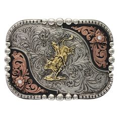 Engraved Rodeo Bull-Rider Tri-Color Classic Montana Silversmiths Belt Buckle