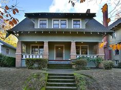 Own a Classic Craftsman in the heart of Laurelhurst! Large porch with swing. Grand staircase and formal entry along with formal dining and living room. Craftsman Bungalow Exterior, Craftsman Style Homes, Craftsman Bungalows, Craftsman Porch, Cottages And Bungalows, Small Cottages, Small Houses, Style At Home, Country House Plans
