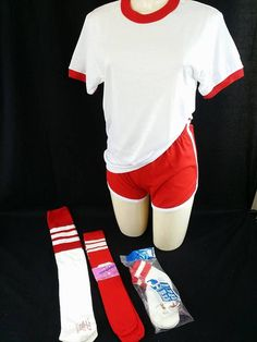 Vintage NOS Adult Small Outfit White Scarlet Ringer T-shirt, Gym Shorts, Super Long Tube Sock, Orlon Sport Stock Bundle by RockingItOldSkool on Etsy