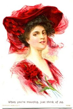 Lovely Victorian lady in red postcard.
