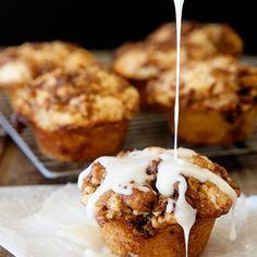 Cinnamon Roll Muffins Recipe Breakfast and Brunch, Breads, Afternoon Tea with all-purpose flour, baking powder, salt, sugar, melted butter, eggs, milk, brown sugar, ground cinnamon, chopped pecans, melted butter, cream cheese, powdered sugar, milk, vanilla