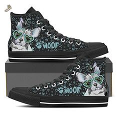 French Bulldog - Womens High Top Sneakers In Black Womens High Top - Black - Turquoise / US11 EU42 - Vaisb sneakers for women (*Amazon Partner-Link)