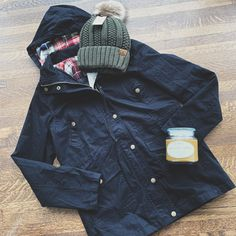 A cozy lined beanie and fun flannel detailed anorak jacket! Perfect for our chilly weather! Anorak Jacket, Chilly Weather, Plaid Flannel, Drawstring Waist, Jade, Raincoat, Beanie, Cozy, Zipper