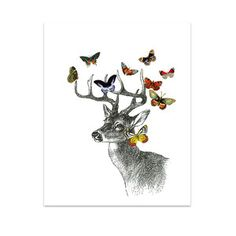 Deer With Butterflies, $39, now featured on Fab.
