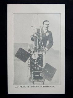 """Postal Francês de """"Santos Dumont IN Airship nº 1"""". Bom estado de conservação"""